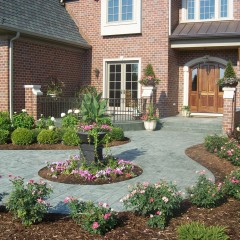 Raised Ashlar Slate Concrete Entryway and Circular walkway